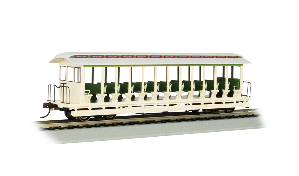 Bachmann 19344 HO Jackson Sharp Open-Sided Excursion Car Series Amusement Park Cream Green