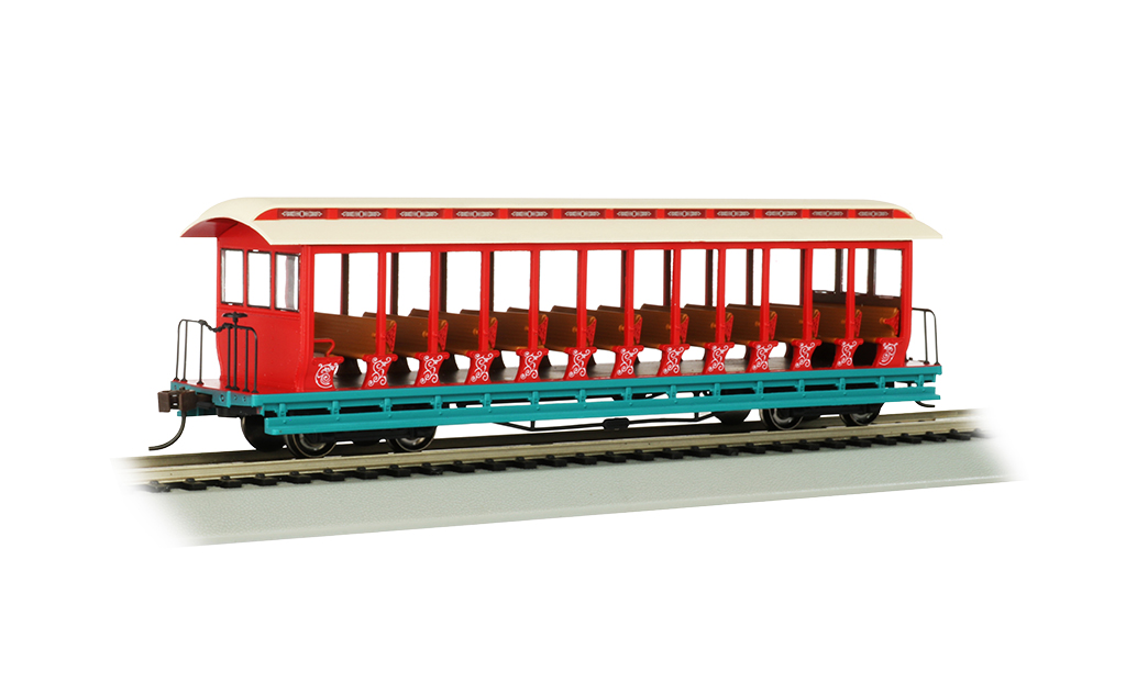 Bachmann 19345 HO Jackson Sharp Open-Sided Excursion Car Series Amusement Park Cream