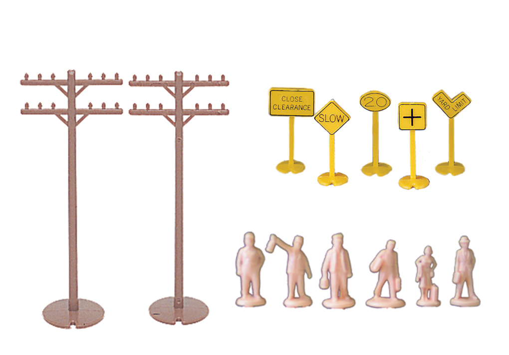 Bachmann 42104 HO Layout Accessories Assortment 12 Telephone Poles 24 Signs & 24 Unpainted Figures
