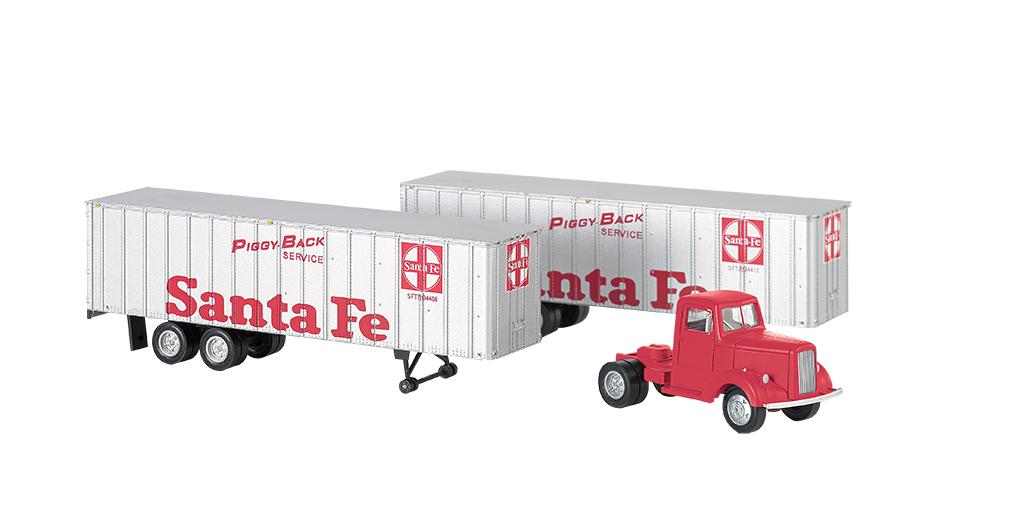 Bachmann 42232 HO Tractor w/2 Piggyback Van Trailers Santa Fe Tractor trailer w/red Billboard Lettering & Logo