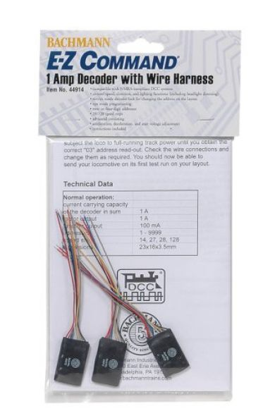 E-Z Command® 1 Amp Locomotive Decoder with Wire Harness