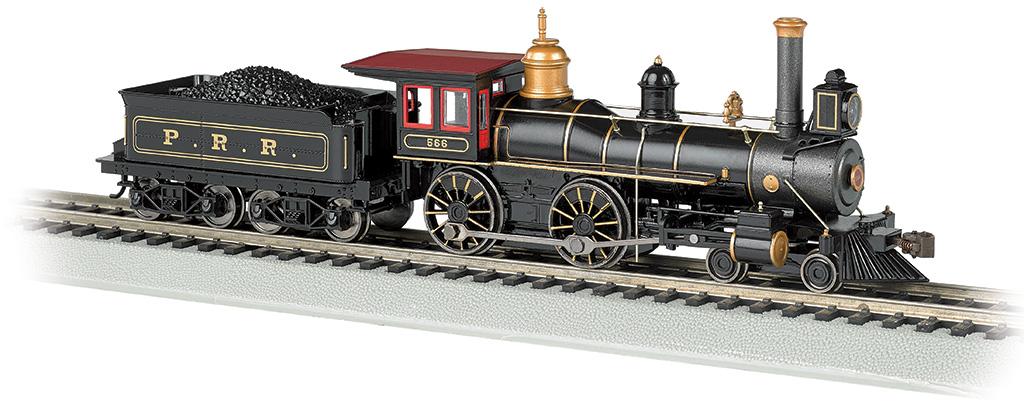 Bachmann 51005 HO 4-4-0 w/Coal Tender Load Standard DC Pennsylvania Railroad black graphite gold 160-51005
