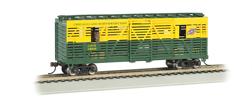 C & NW w/Horses - Animated Stock Car (Large Scale)