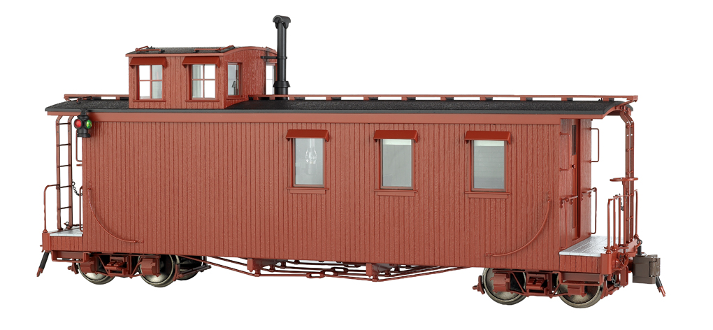 Painted, Unlettered - Oxide Brown - Long Caboose (Large Scale)