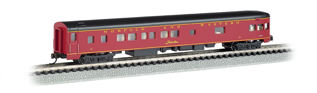 Bachmann 14352 N 85' Smooth-Side Boat-Tail Observation w/Lighting Norfolk & Western 160-14352