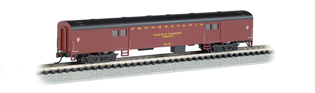 Bachmann 14451 N 72' Smooth-Side Baggage Car Pennsylvania Tuscan