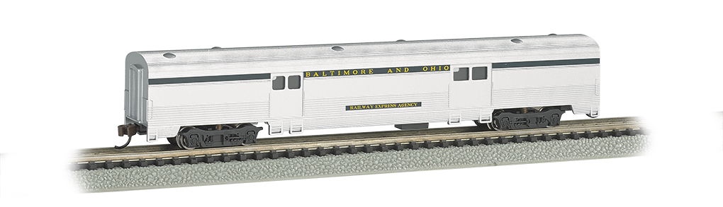 B&O® Silver w/ Blue stripe - 72 FT 2-Door Baggage car
