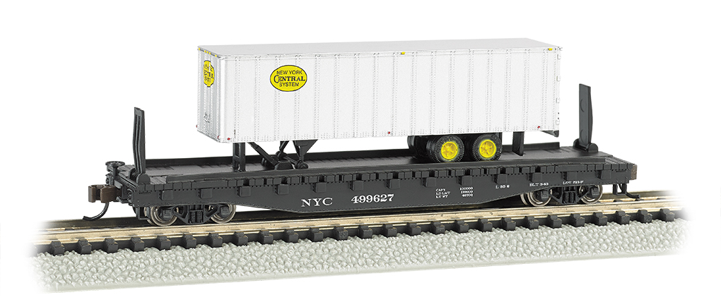 New York Central 52ft flat car w/ NYC® 35ft Trailer
