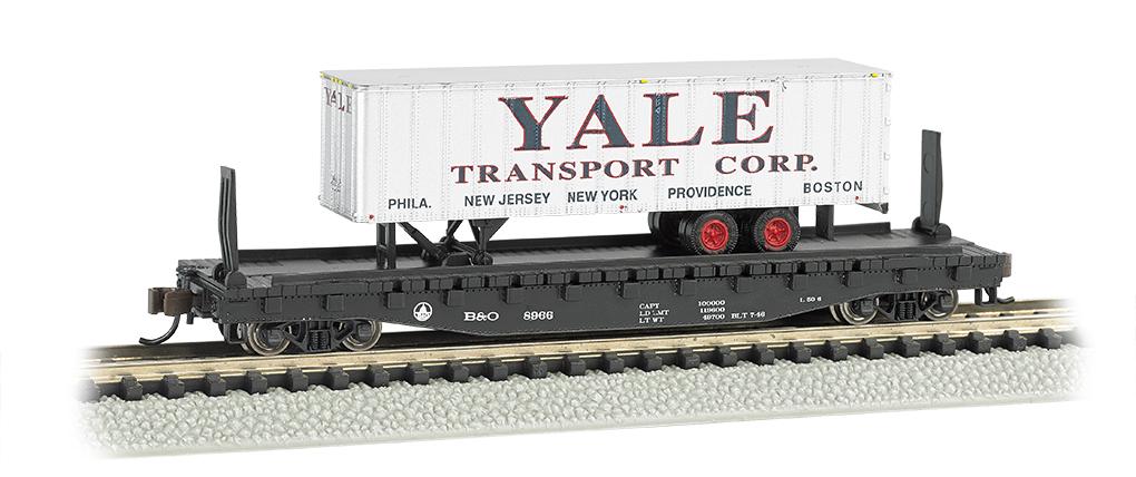 """Bachmann 16755 N 52'6"""" Flatcar w/ 35' Trailer Series Atlantic Coast Line w/Silver Yale Trailer"""
