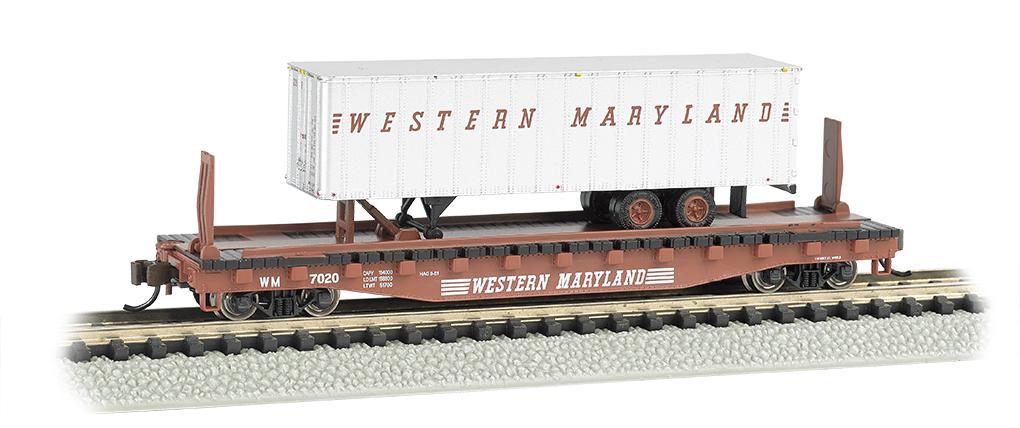Western Maryland® 52ft flat car w/ WM 35ft Trailer