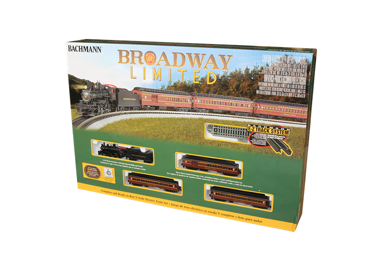 "Bachmann 24026 N The Broadway Limited 4-6-0 Loco 3 60' Heavyweight Cars 34 x 24"" Track Oval Power Pack"
