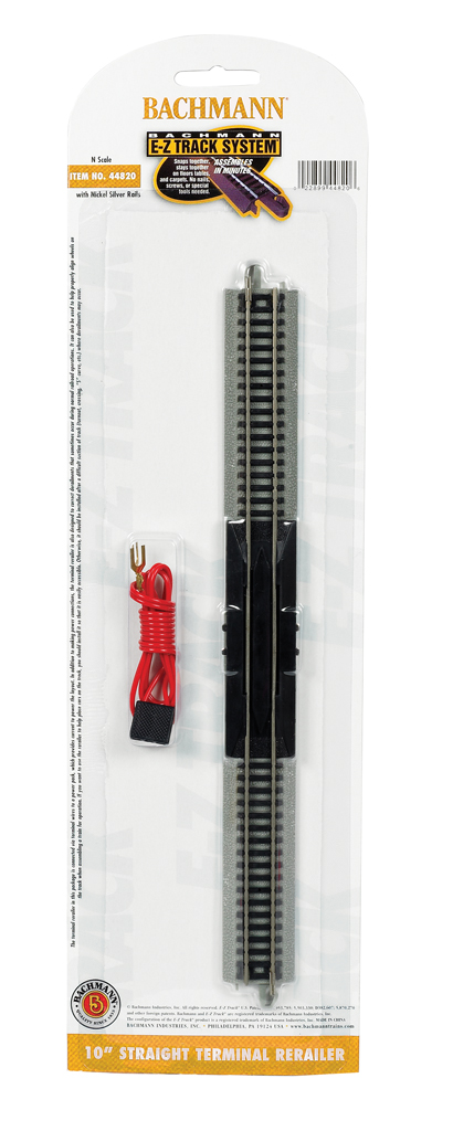 "10"" Straight Terminal Rerailer with Wire (N Scale)"