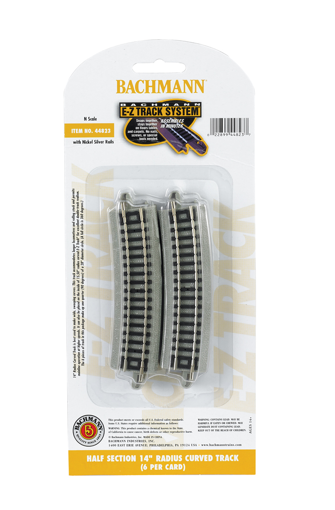 "Half Section 14"" Radius Curved Track - N Scale"