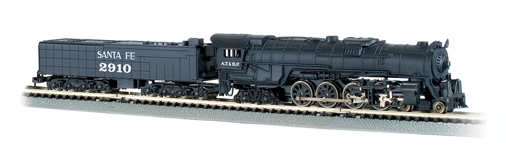 SantaFe # 2910 - 4-8-4 Northern & 52' Tender (N Scale) - Click Image to Close