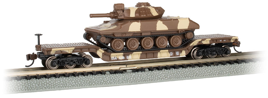 52' Center-Depressed Flat Car - Desert Camo with Sheridan Tank
