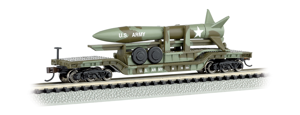 52' Center-Depressed Flat Car - Olive Drab Military with Missile