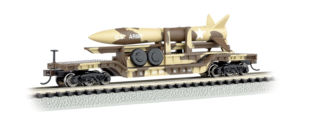 52' Center-Depressed Flat Car - Desert Military w/ Missile