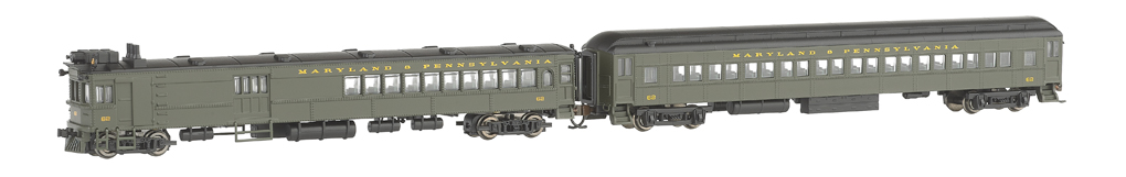 Maryland & Pennsylvania #62 - Doodlebug & Trailer - DCC