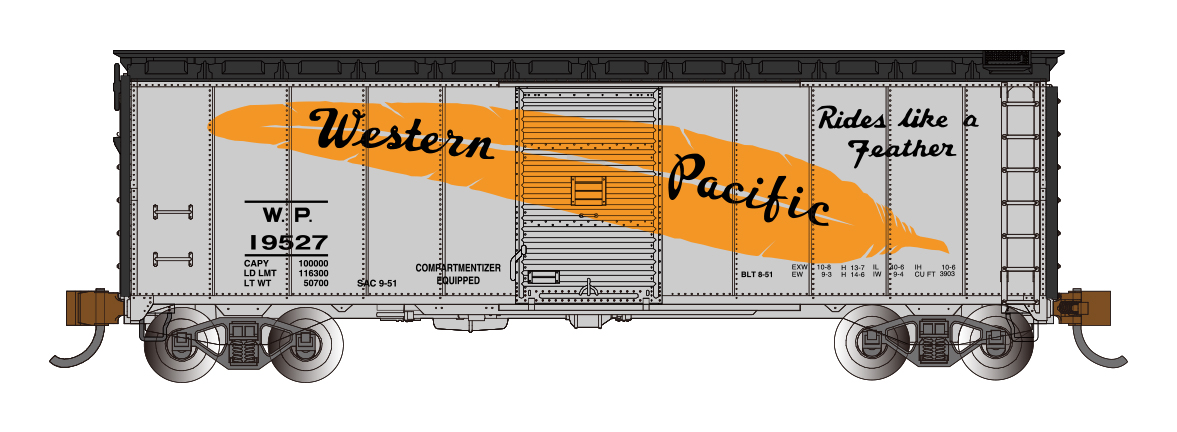 Western Pacific™ - Feather Car - AAR 40' Steel Box Car