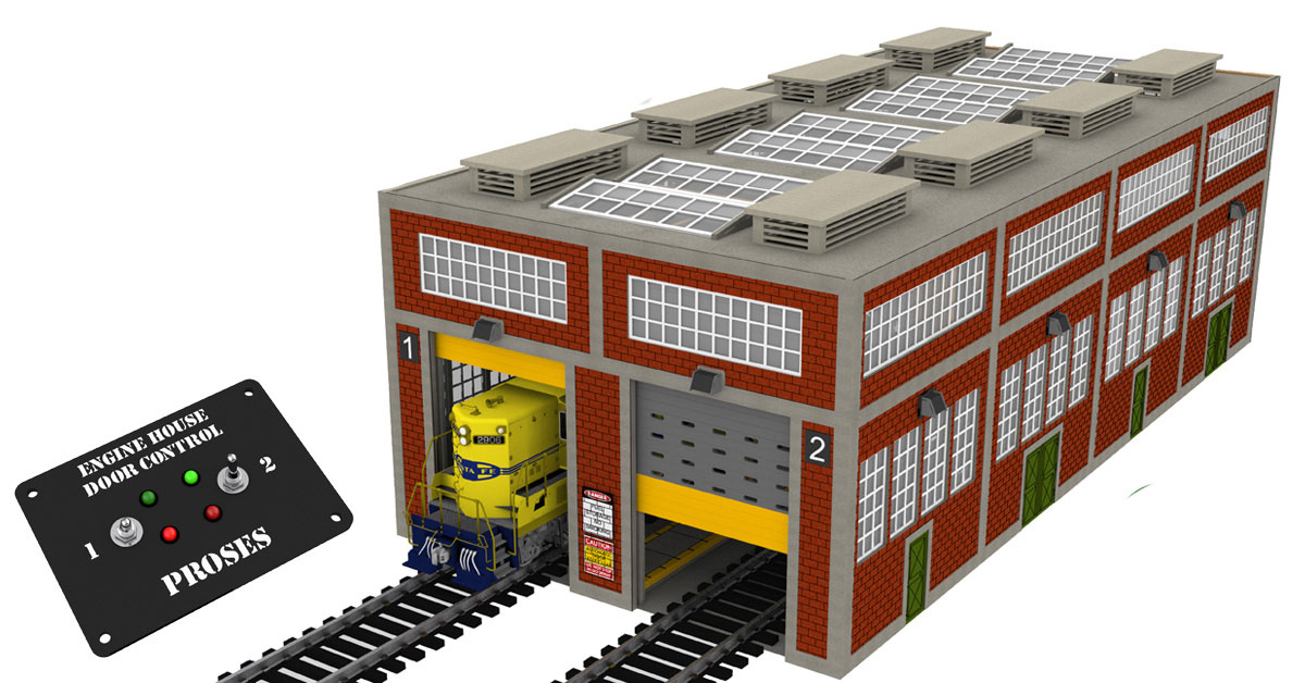 O Scale Dual-Stall Modern Engine House (With Motorized Doors)