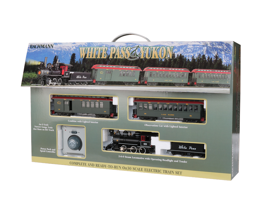 "Bachmann 25024 On30 Pass & Yukon 2-6-0 Loco Wood Combine Wood Coach 56 x 38"" Track Oval Power Pack"