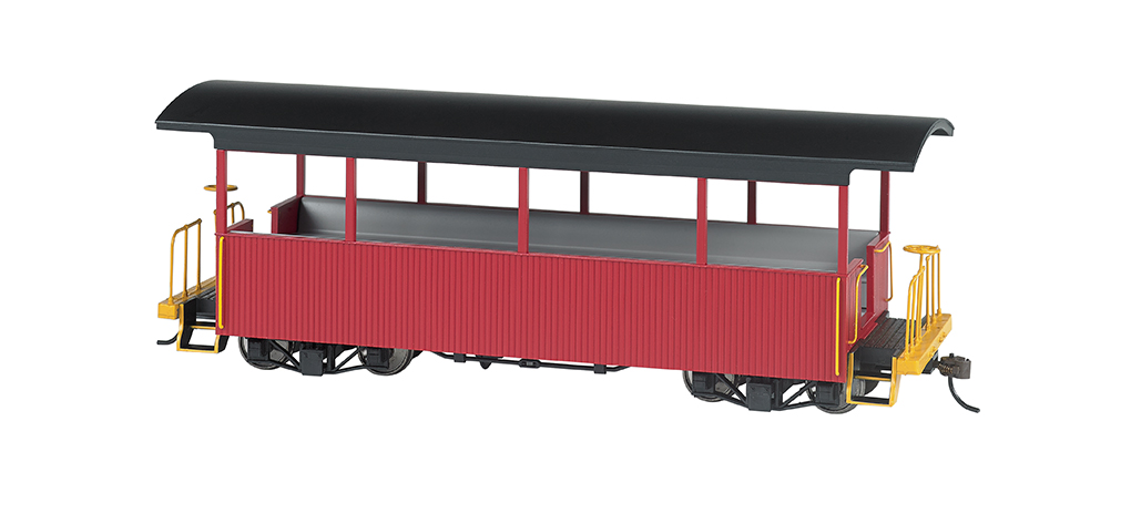 Bachmann 26004 On30 Wood Excursion Car Painted Unlettered Burgundy Roof