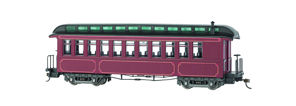 Bachmann 26201 On30 Wood Coach/Observation Spectrum Painted Unlettered burgundy w/gold Striping 160-26201