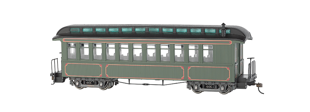 Bachmann 26202 On30 Wood Coach/Observation Spectrum Painted Unlettered olive w/gold Striping 160-26202