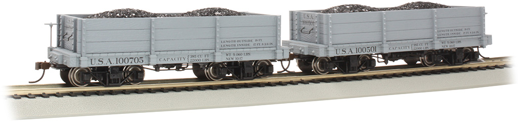 18 ft. Low-Side Gondola - USA #100501 & #100705 - Gray (2/box)