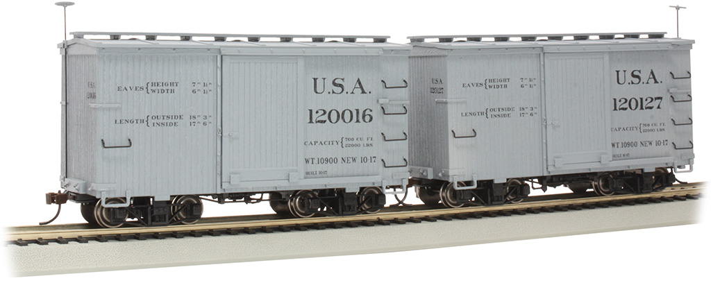 18 ft. Box Car with Murphy Roof - USA #120016 & 120127 - (2/box)