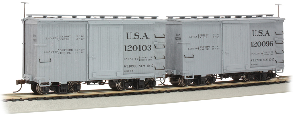 18 ft. Box Car with Murphy Roof - USA #120096 & 120103 - (2/box)