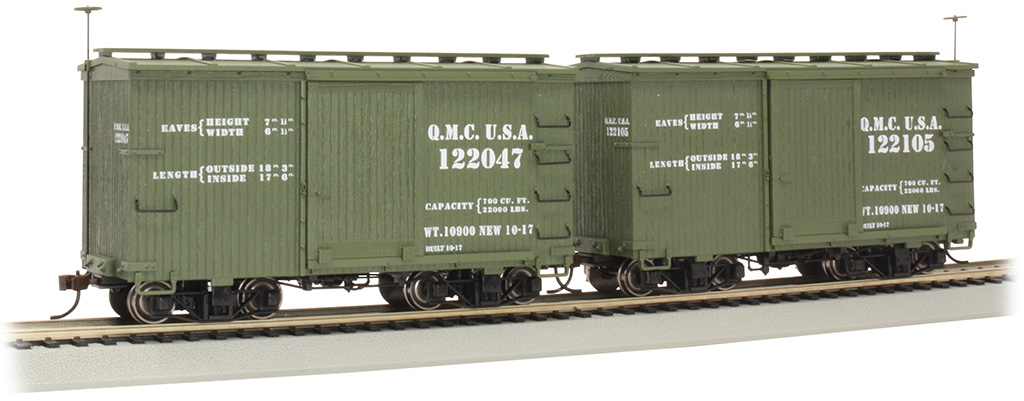 18 ft. Box Car with Murphy Roof - QMC #122047 & 122105 - (2/box)