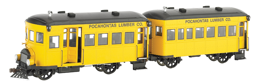 Pocahontas Lumber Co. Rail Bus & Trailer -DCC