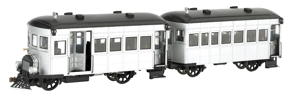 Painted, Unlettered (Silver & Black) Rail Bus & Trailer -DCC
