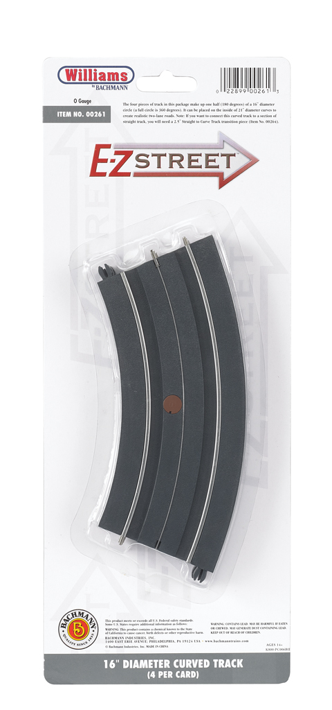 "E-Z Street 16"" Diameter Curved Track (4/Card) - Click Image to Close"