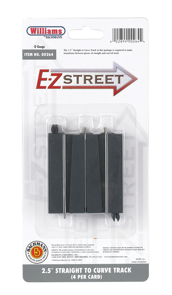 "E-Z Street® 2.5"" Straight To Curve Track (4/Card)"
